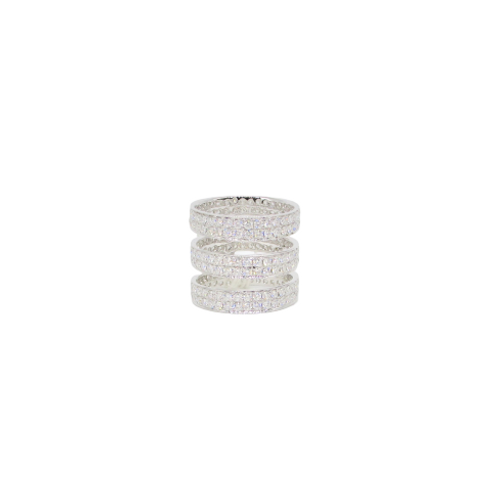 Triple Stacked Diamond Filled Gapped Round Ring