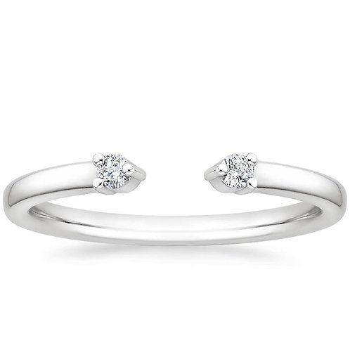 Open Circle Heart Illusion White Gold Wedding Band