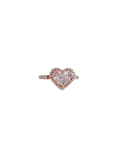 Pie-Cut Heart Diamond Prong Set Cut Band Rose Gold Ring