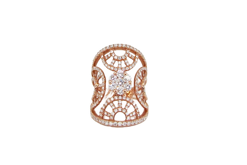 Round Illusion Flower Four Sided Half Cirles Diamond Filled Mixed Tone Long Ring