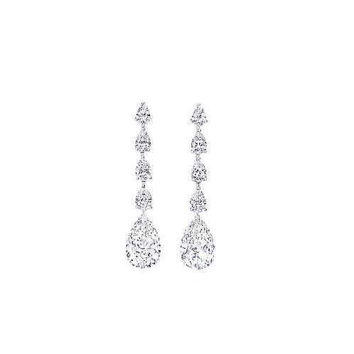 Pie-Cut Pear Diamond Prong Set Long Dangling Earrings