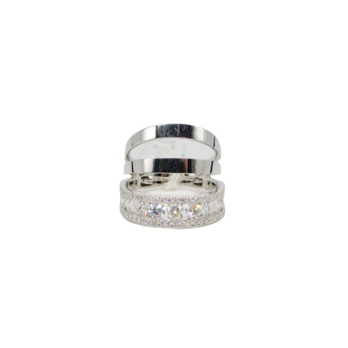 Solid Gold Layered Triple Stacked Midi Ring with Heavy Round and Haloed Bottom L