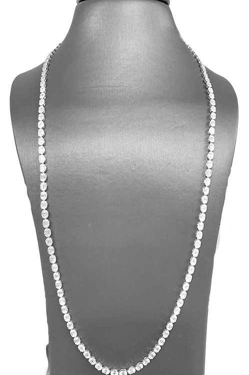 Pie-Cut Emerald Diamond Bezel Set Tennis Long Chain