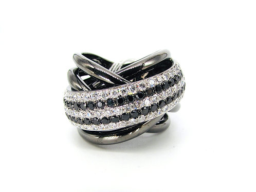 Black Gold Criss Cross Two-Toned Diamond Filled Middle Fat Ring
