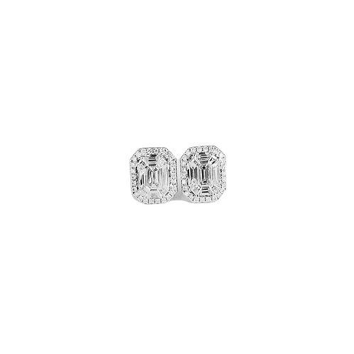 Pie-Cut Emerald Diamond Prong Set Halo Earring