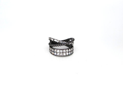 Mix and Match Solid Filled Styled Criss Cross Bands Multi-Shaped Black Gold Ring
