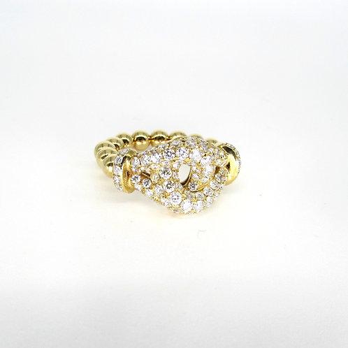 Interlocked Diamond Filled Front Circle Moving Gold Balls Band Ring