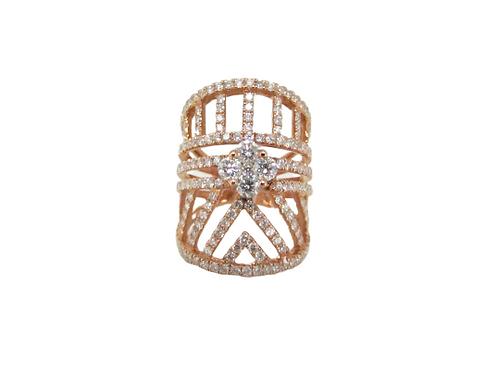 Round Illusion Flower Diamond Filled Diagonal Lines Long Ring