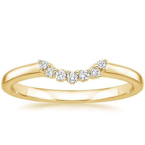 Crescent Shaped Diamond Front Yellow Gold Wedding Band