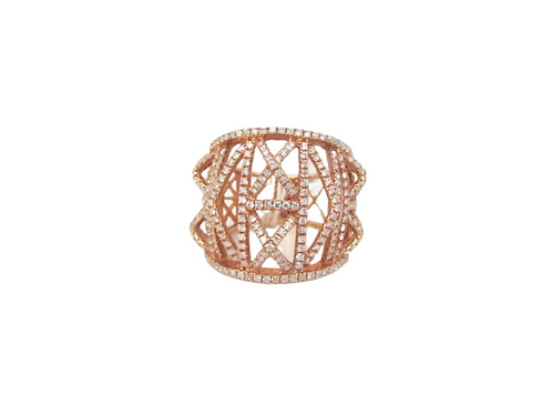 3D Pop-Up Criss-Cross Designed Diamond Filled Fat Ring
