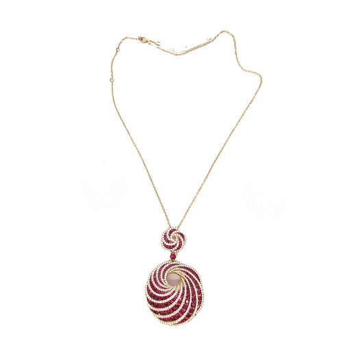 Ruby and White Diamonds Wave Pendant