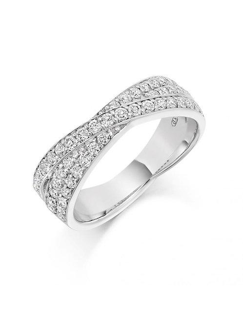 Criss-Cross Diamond Filled Fat White Gold Wedding Band