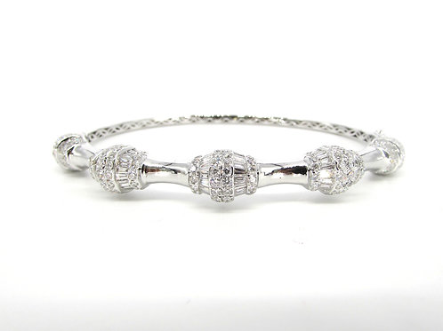 White Gold Fancy Shaped Simple Bangle