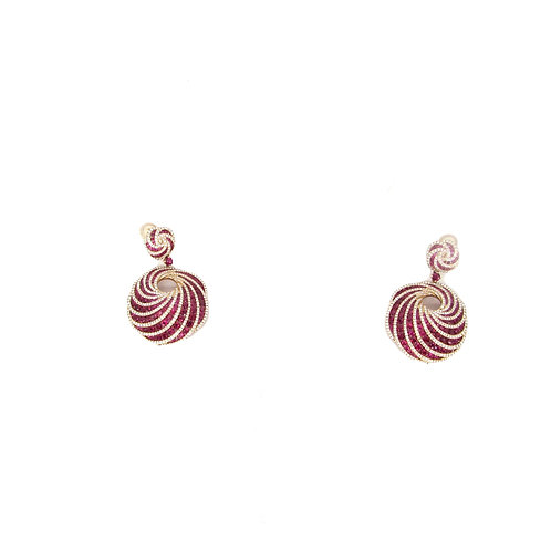 Ruby and White Diamonds Wave Dangling Earrings