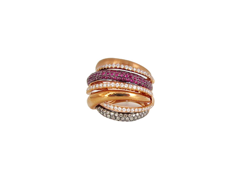 Seven Layered Criss-Cross Multi Coloured Diamond Filled Bands Fat Ring