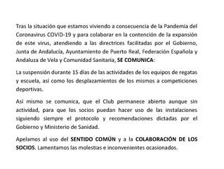 NOTA INFORMATIVA, ACTUACION  DEL CLUB SOBRE COVID-19