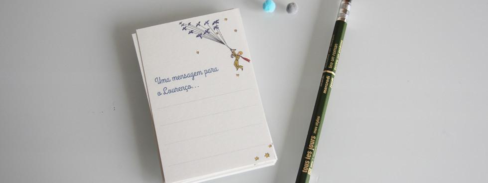 Cartões para os convidados escreverem mensagem