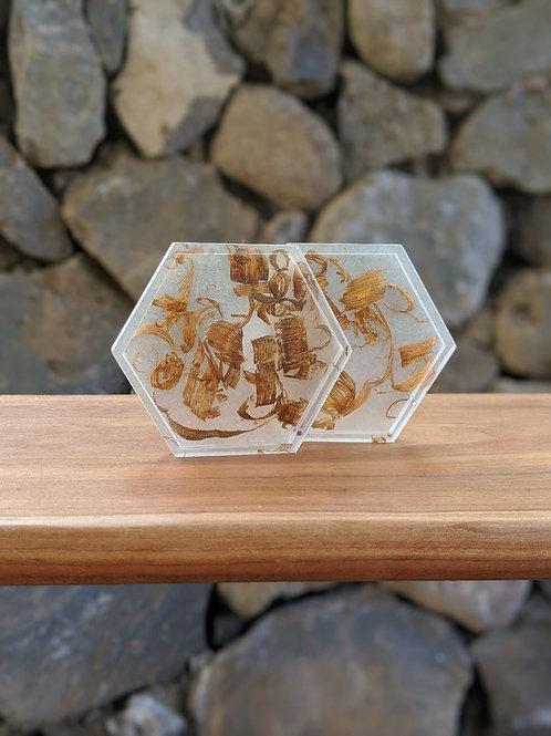 Coaster / Tray Set (2)   White Resin + Mahogany Wood Shavings