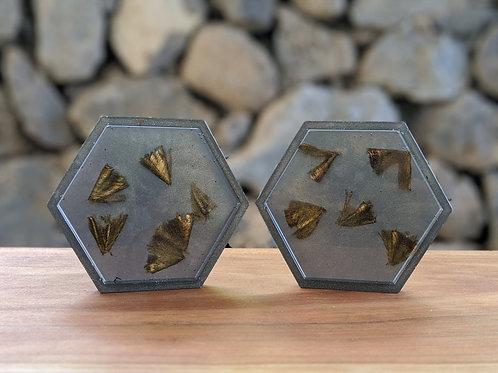 Coaster / Tray Set (2)   Gray Resin + Mango Wood Shavings