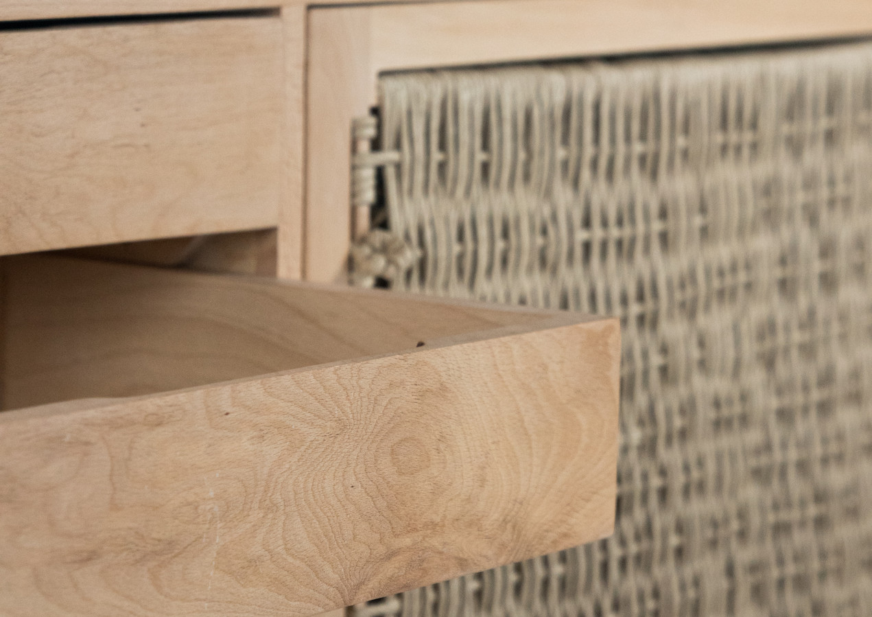 Solid beech drawers are built with half-blind dovetails. This joint has been used in fine furniture for a very long time and is the mark of quality craftsmanship.