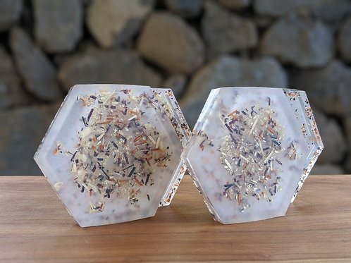 Coaster / Jewelry Tray Set (4) | White Resin + Wood Shavings