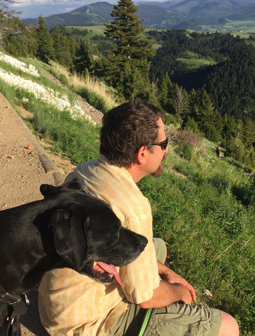 Brian and Achilles looking over the Gallatin Valley