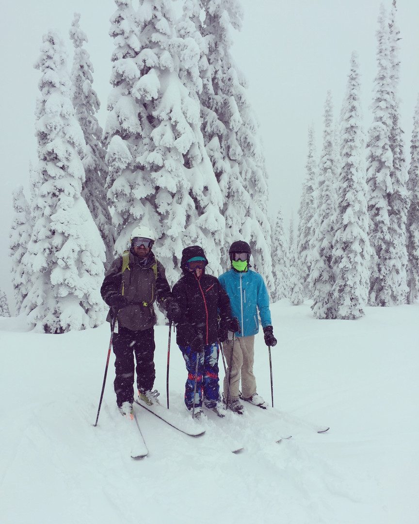 Brian skiing with his kids