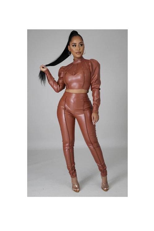 Caramel Mesh Top Leather 2pc