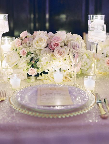 Small Blush Rose Sweetheart Table Centerpiece