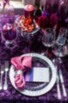 Purple Rosette Linen with Purple and Fuschia Moon Series Carnations with Purple Votives and Pink Napkin with Silver Accent Ring Photo Credit: Sharon Nicole Photography #BBJ #EventDesign #PoshAndPrivate