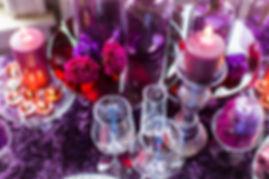 Purple and Fuschia Moon Series Carnations with Purple Votives on Purple Rosette Linen Photo Credit: Sharon Nicole Photography #EventDesign #PoshAndPrivate