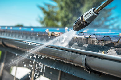 Spring Rain Gutters Cleaning Using Press