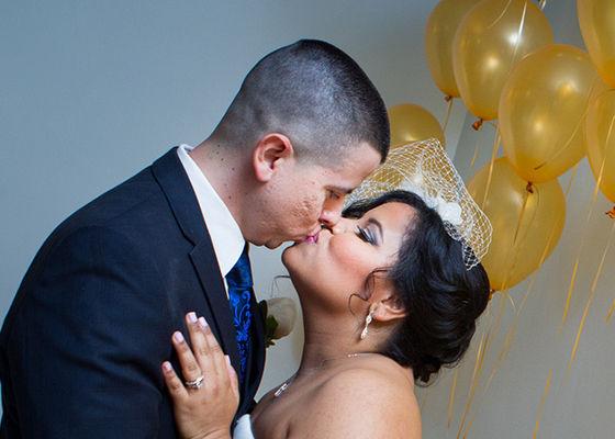 Wedding Kiss with Balloons