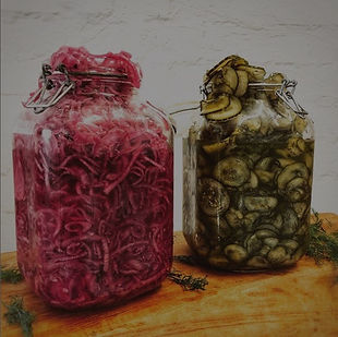 Pickled gherkins and homemade slaw
