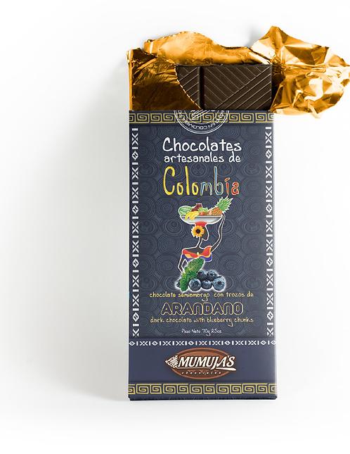 Barra chocolate 53% con arándano / 70 gramos