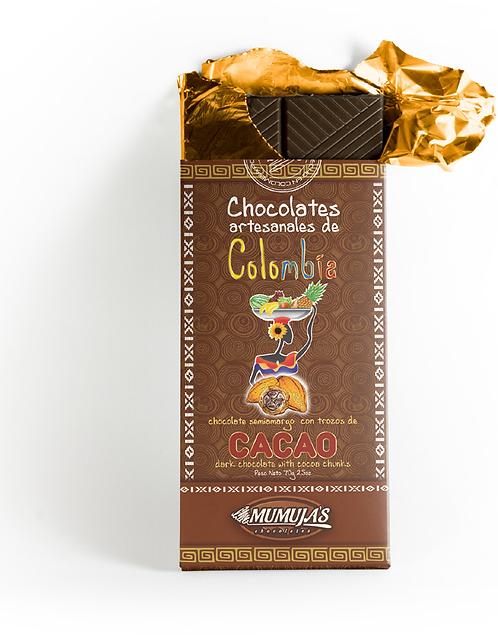 Barra chocolate 53% con trozos de cacao / 70 gramos