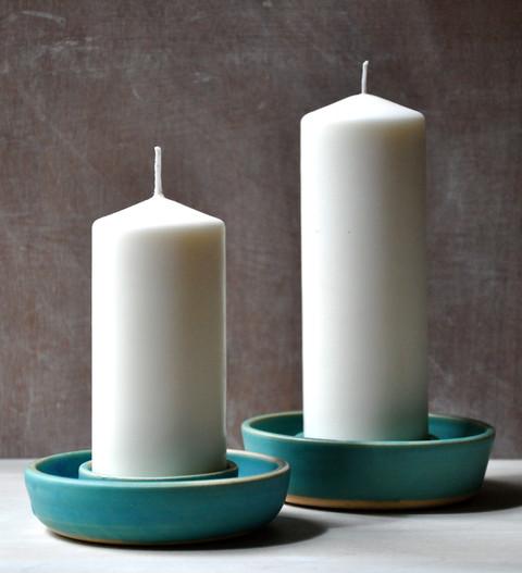 White stoneware candlesticks