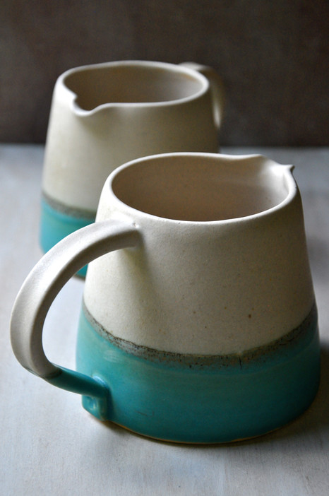 White stoneware jugs