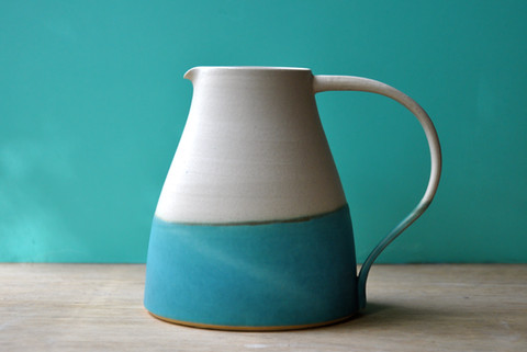 Large white stoneware jug