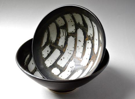 Large white stoneware bowls