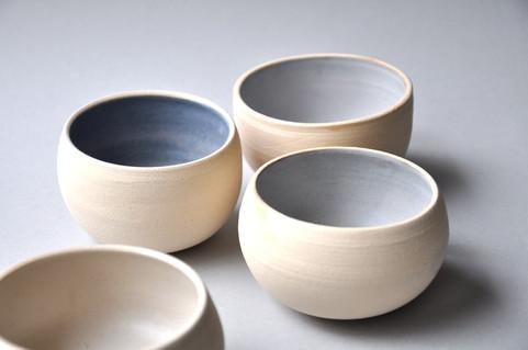 White stoneware sea salt tumblers