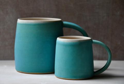 White stoneware mugs