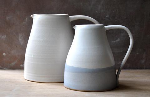 Large white stoneware jug & White stoneware jug