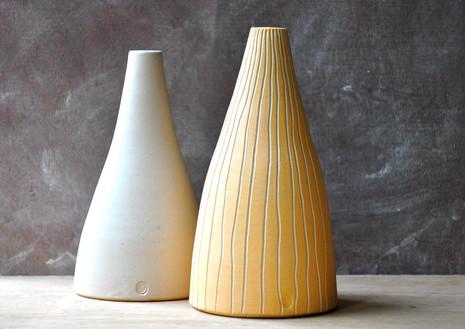 White stoneware bottles