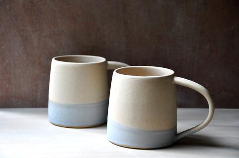 Large white stoneware mugs
