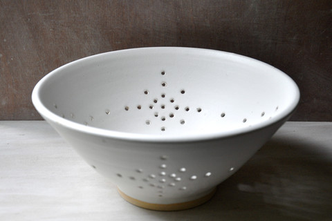 Large white stoneware berry bowl