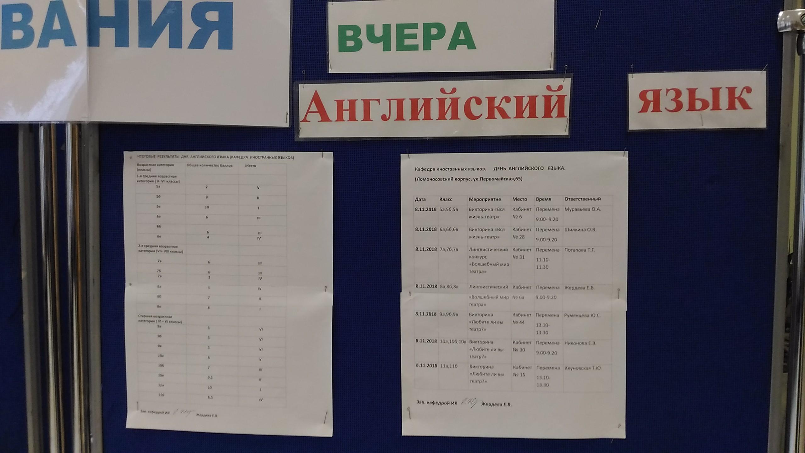 Расписание дней иностранных языков