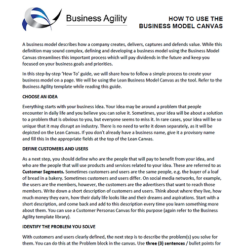 How to use the Business Model Canvas guide