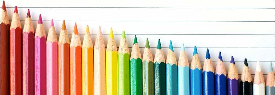 lápis de cor organizados