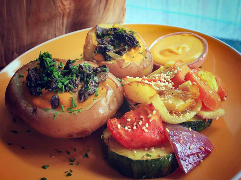 Stuffed Potatos & Sauteed Vegetables